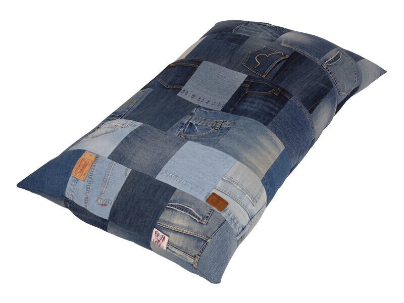 bodenkissen jeans klein patchwork sitzkissen 86 teile ebay. Black Bedroom Furniture Sets. Home Design Ideas