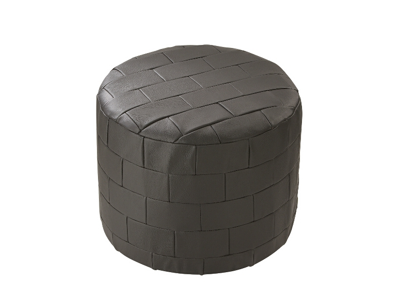 m belhocker fu hocker sitzkissen pouf rund echt leder patchwork braun ebay. Black Bedroom Furniture Sets. Home Design Ideas