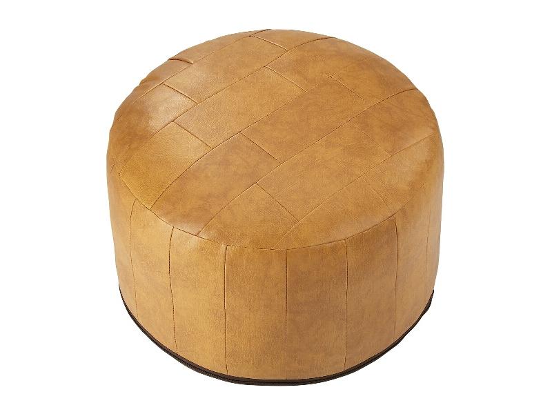 sitzkissen patchwork kunstleder pouf hocker braun rot. Black Bedroom Furniture Sets. Home Design Ideas